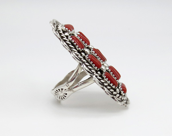Image 1 of Large Red Coral Sterling Silver Ring Sz 9.5 Navajo Jewelry - 4257rio