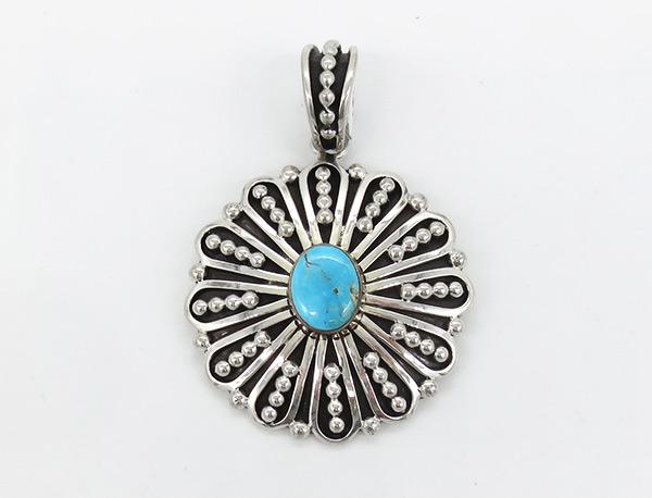 Turquoise & Sterling Silver Pendant Johnathan Nez Navajo - 7132coz