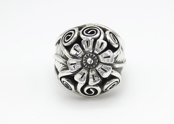 Sterling Silver Flower Ring Sz 10 Native American Jewelry - 6352rio