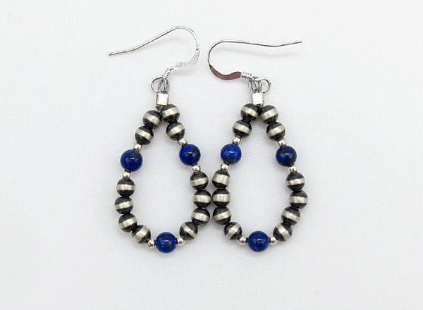 Sterling Silver Desert Pearl & Lapis Earrings Native American Jewelry - 6243rio