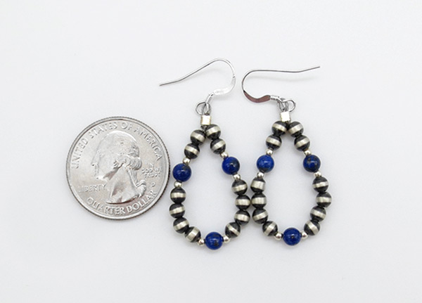 Image 1 of Sterling Silver Desert Pearl & Lapis Earrings Native American Jewelry - 6243rio