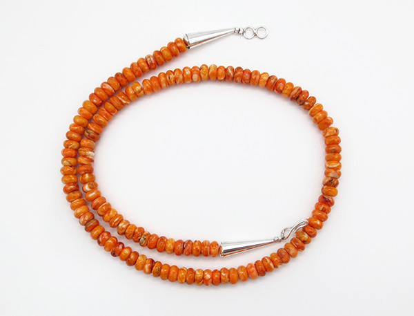 Orange Spiny Oyster Rondelle Bead Necklace 18 - 6241rio