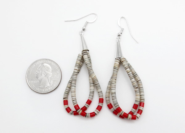 Image 1 of Fine Shell Heishi & Coral Earrings Santo Domingo Jewelry - 6354rio
