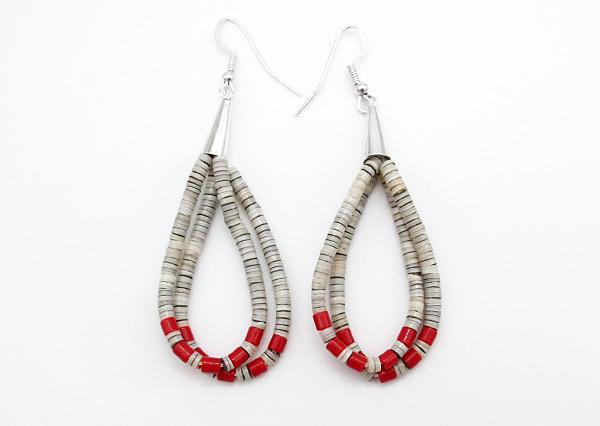 Fine Shell Heishi & Coral Earrings Santo Domingo Jewelry - 6354rio