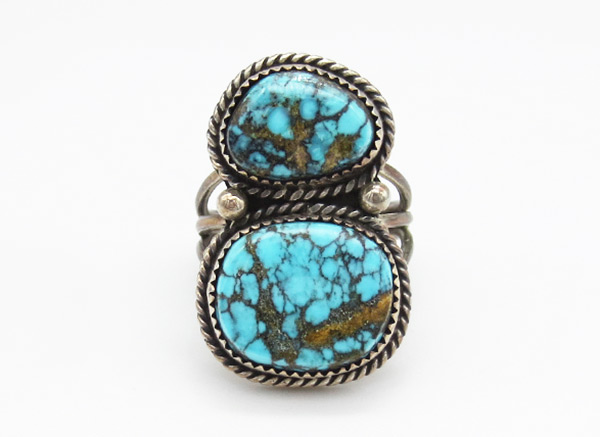 Image 0 of Turquoise & Sterling Silver Ring Sz 8 Native American Jewelry - 6359rio