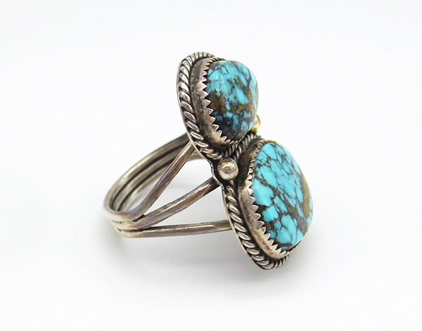 Image 1 of Turquoise & Sterling Silver Ring Sz 8 Native American Jewelry - 6359rio
