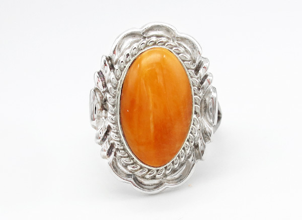 Orange Spiny Oyster & Sterling Silver Ring Sz 8 Navajo Jewelry - 6368rio