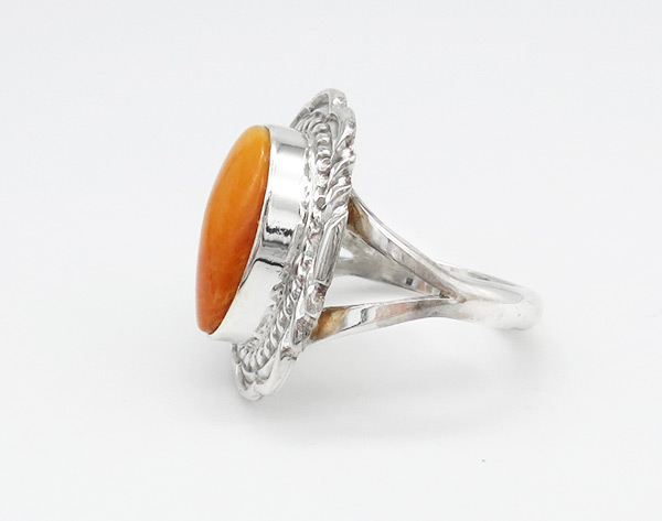 Image 1 of Orange Spiny Oyster & Sterling Silver Ring Sz 8 Navajo Jewelry - 6368rio