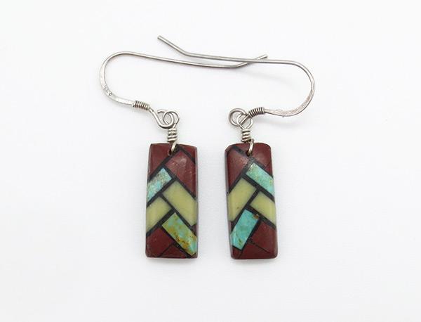 Turquoise Inlay Earrings Santo Domingo Jewelry - 6367rio