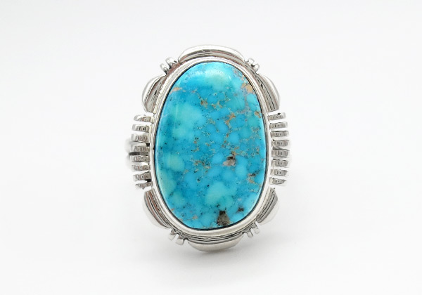 Turquoise & Sterling Silver Ring Sz 9.5 Native American Jewelry - 6372at