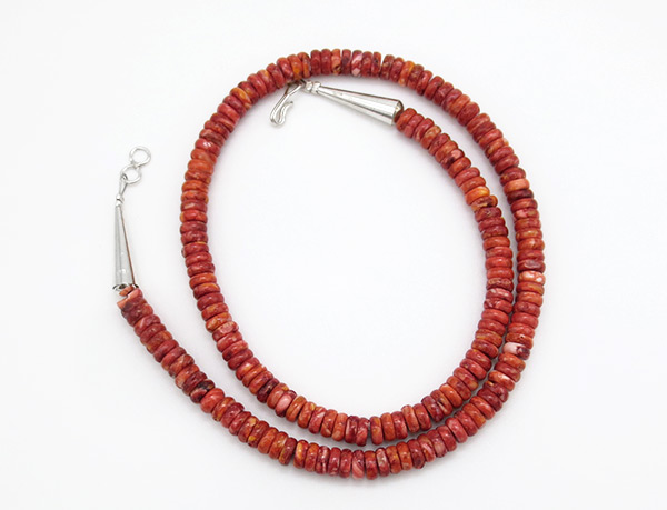 Red Spiny Oyster Rondelle Bead Necklace 18 - 3805rio