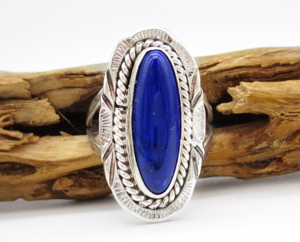 Lapis & Sterling Silver Ring Sz 8 Native American Jewelry - 3804rio