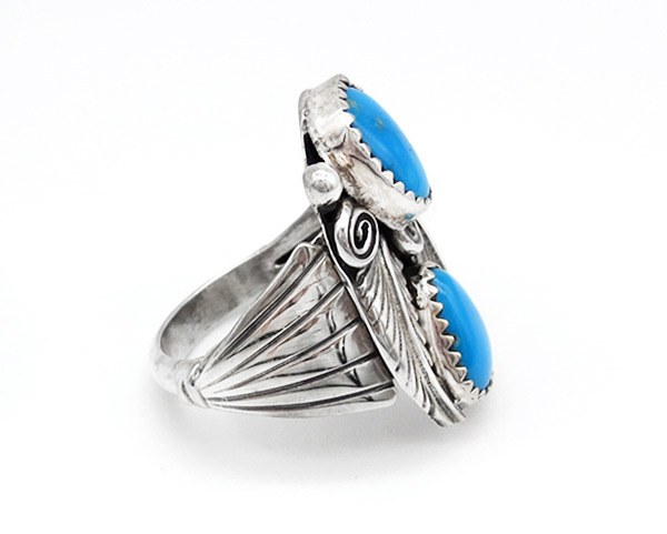 Image 1 of Sterling Silver & Turquoise Ring Sz 8 Native American Jewelry - 3801rio