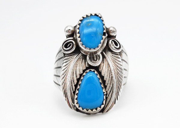 Image 0 of Sterling Silver & Turquoise Ring Sz 8 Native American Jewelry - 3801rio
