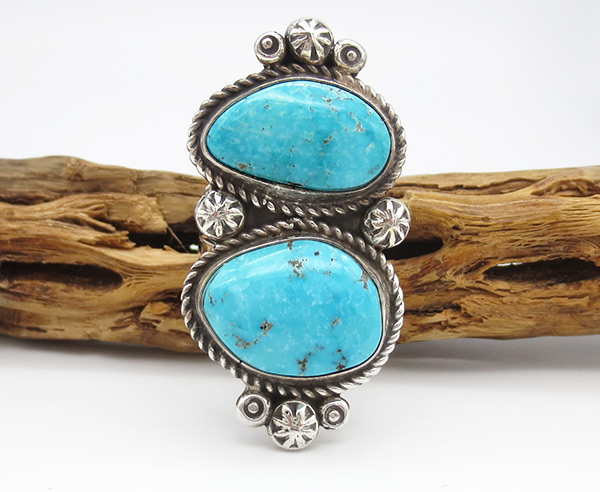 Image 0 of Turquoise & Sterling Silver Ring Sz 8 Native American Jewelry - 3802rio