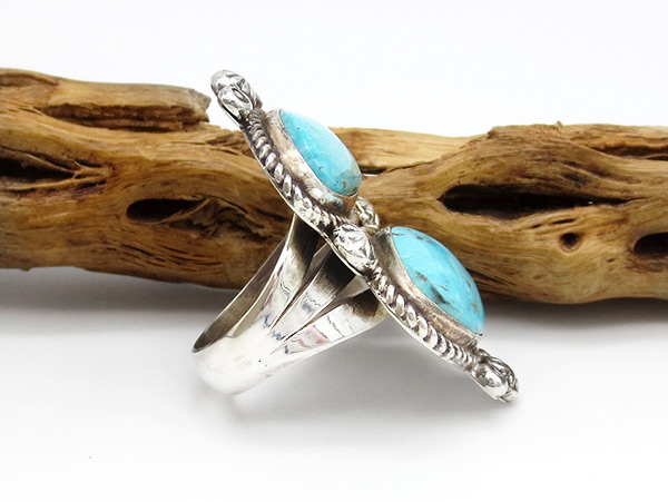 Image 1 of Turquoise & Sterling Silver Ring Sz 8 Native American Jewelry - 3802rio