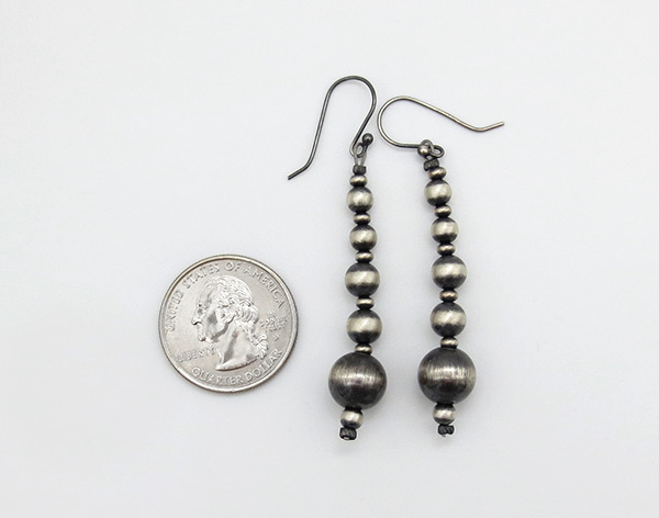 Image 1 of      Sterling Silver Desert Pearl Earrings Native American Jewelry - 3825rio