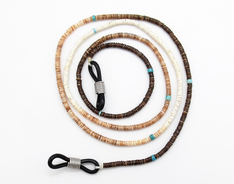 Heishi & Turquoise Eyeglass Chain 24 Long Native American Kewa - 3835rio
