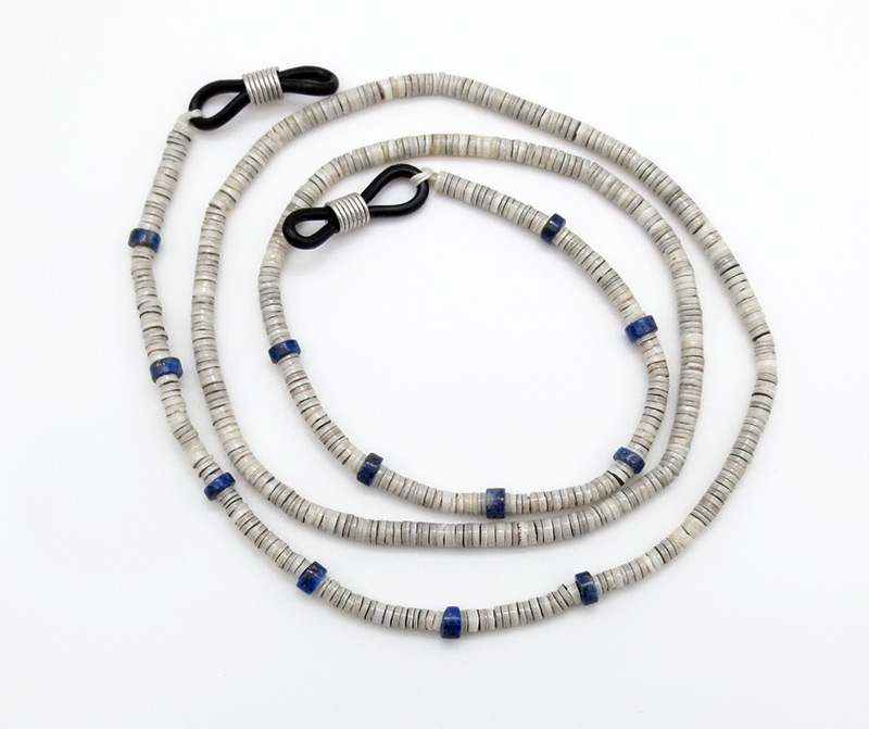 Clam Heishi & Lapis Eyeglass Chain 25 Santo Domingo - 3836rio