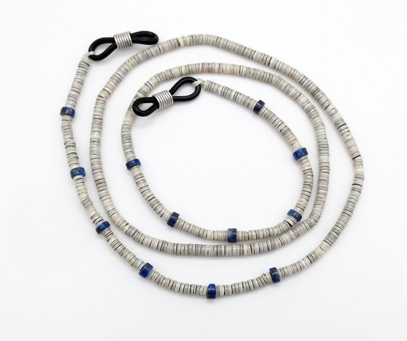 Clam Heishi & Lapis Eyeglass Chain 25 Santo Domingo - 3836rio