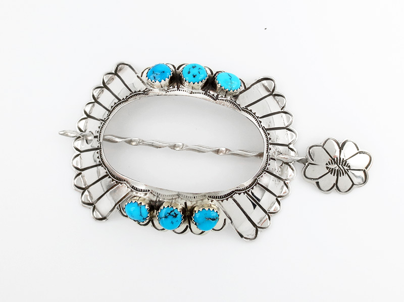 Sterling Silver & Turquoise Stick Barrette Native American - 3837rio