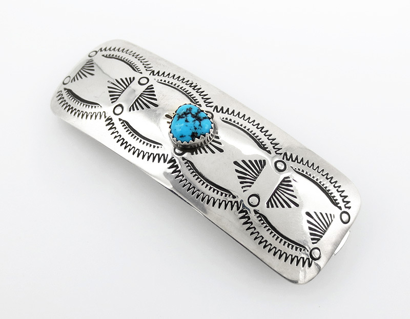 Native American Handcrafted Sterling Silver Turquoise Barrette - 3827rio
