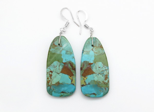 Turquoise Slab Earrings Native American Jewelry - 3817rio