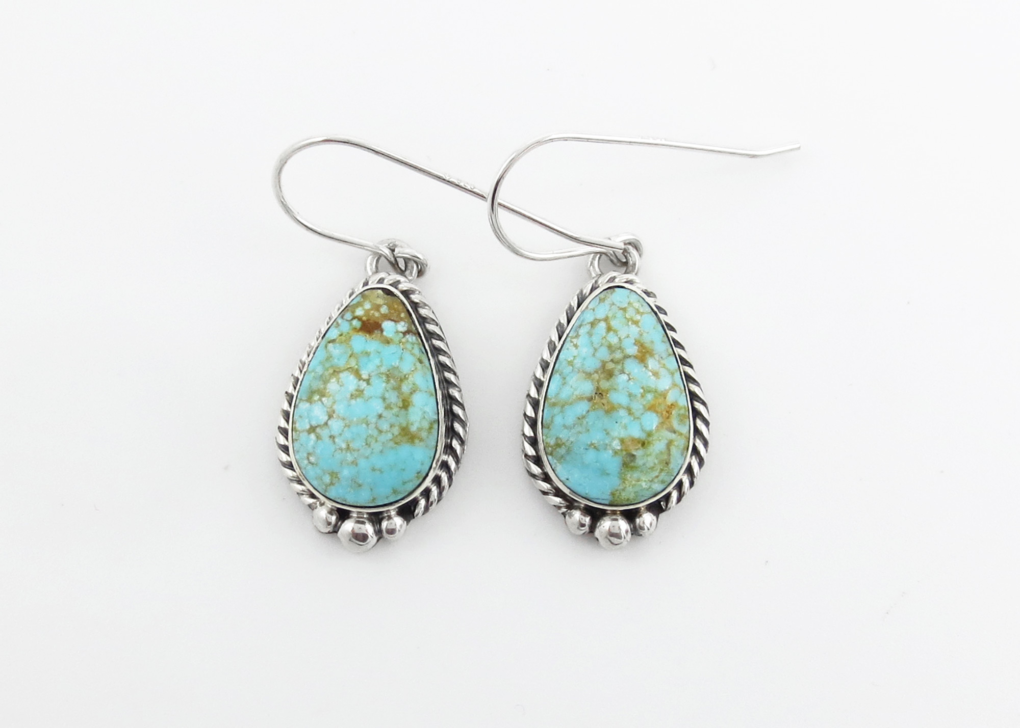 Turquoise & Sterling Silver Earrings Native American Jewelry - 3962sn