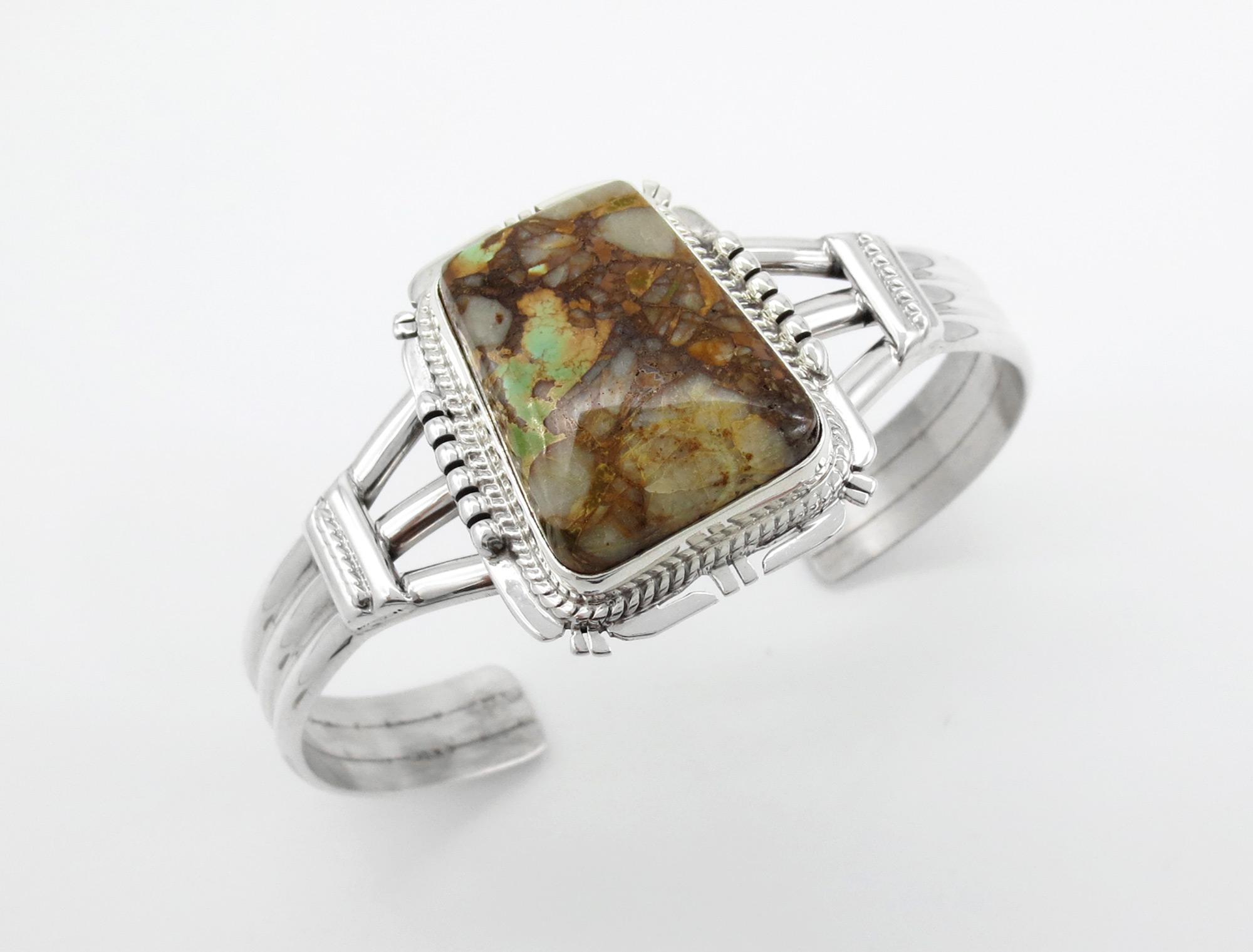 Boulder Turquoise & Sterling Silver Bracelet Navajo - 3967sn