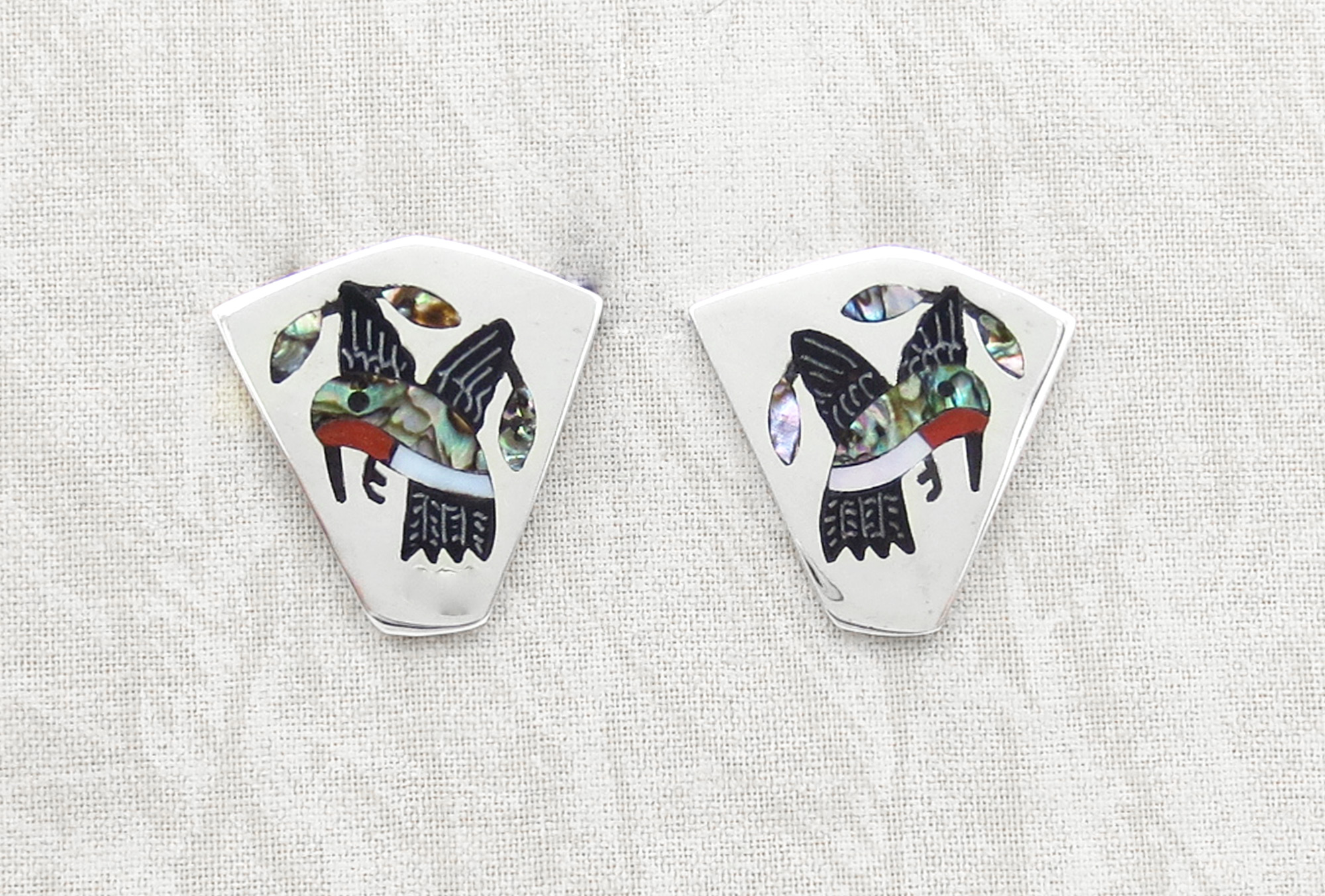 Hummingbird Inlay Earrings Zuni Native American Jewelry - 3960dt