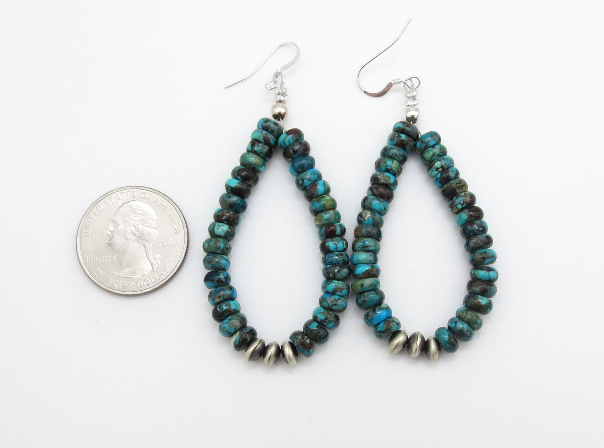 Image 1 of   Rondelle Turquoise Bead & Sterling Silver Earrings Navajo - 3768rio