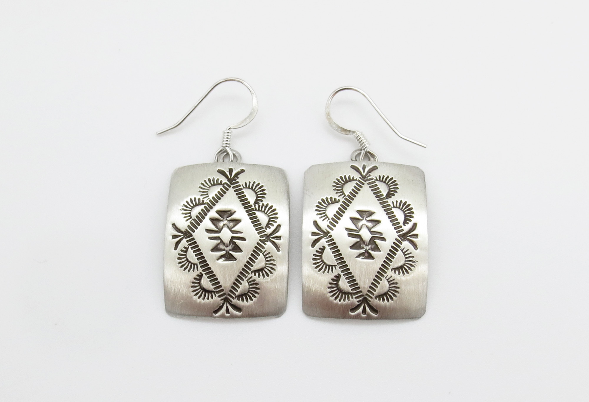 Stamped Sterling Silver Earrings Native American Jewelry - 6247rio
