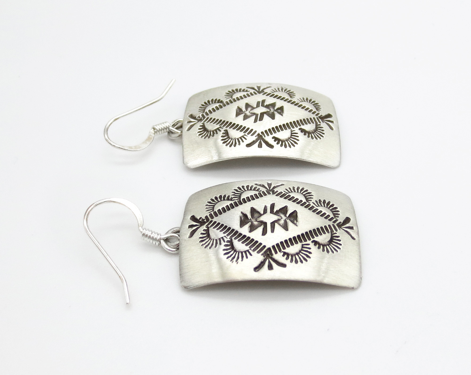 Image 1 of      Stamped Sterling Silver Earrings Native American Jewelry - 6247rio