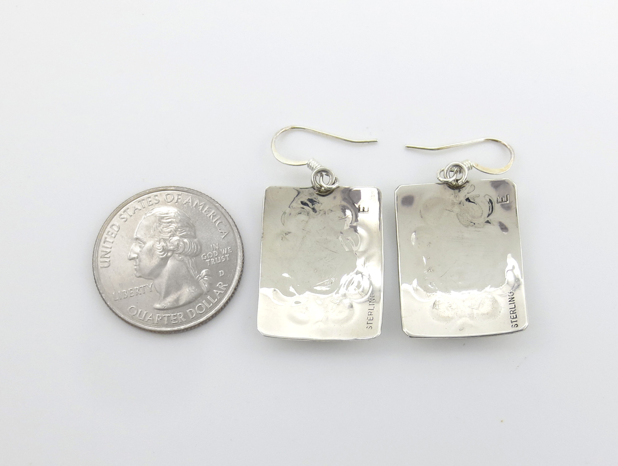 Image 2 of      Stamped Sterling Silver Earrings Native American Jewelry - 6247rio
