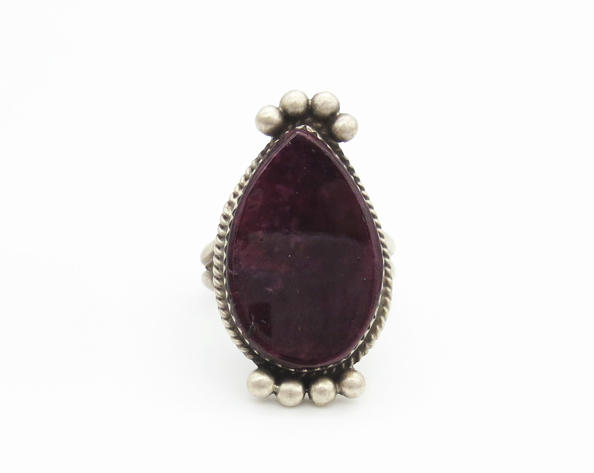 Deep Purple Spiny Oyster & Sterling Silver Ring Size 9.5 - 6245rio