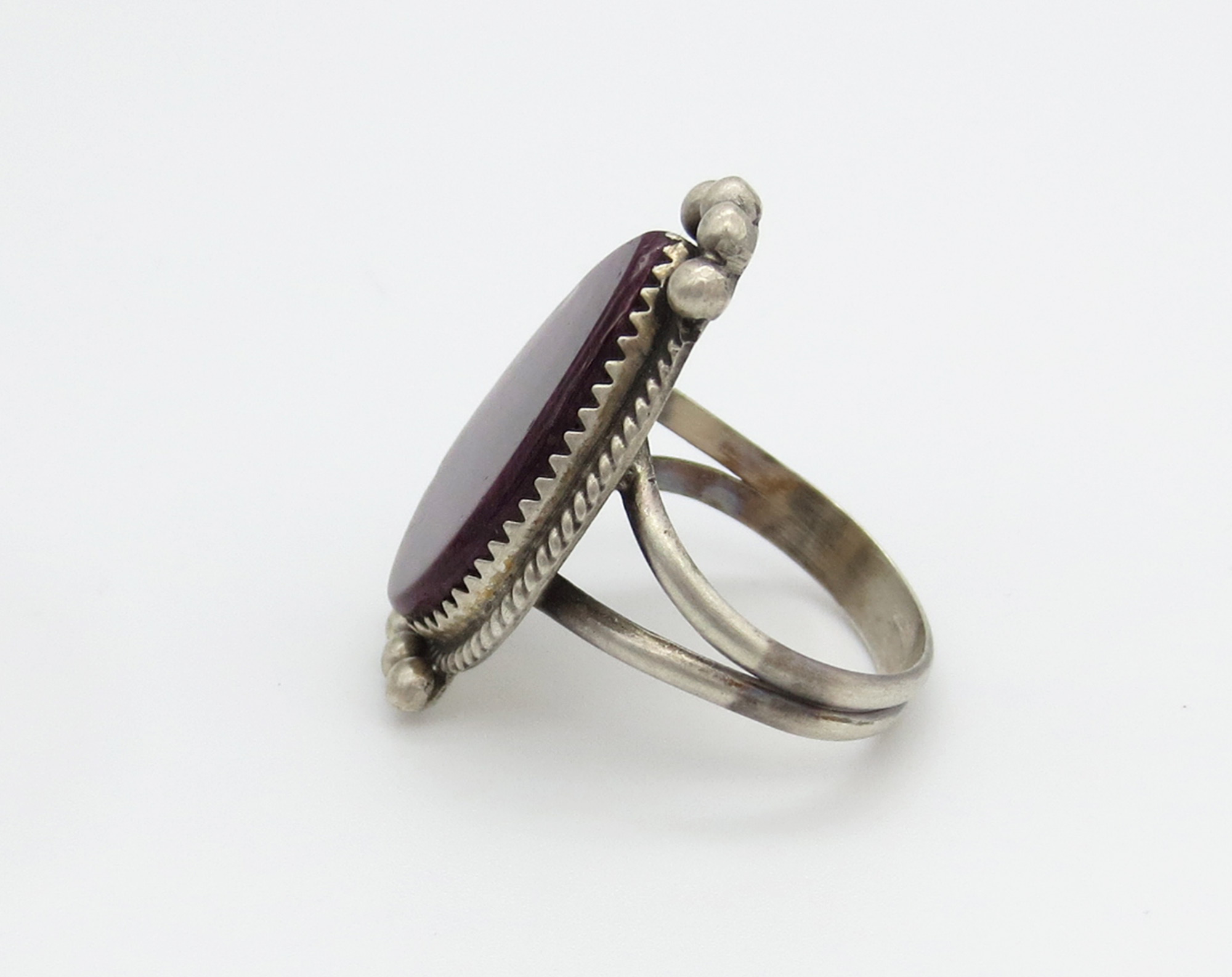 Image 1 of Deep Purple Spiny Oyster & Sterling Silver Ring Size 9.5 - 6245rio
