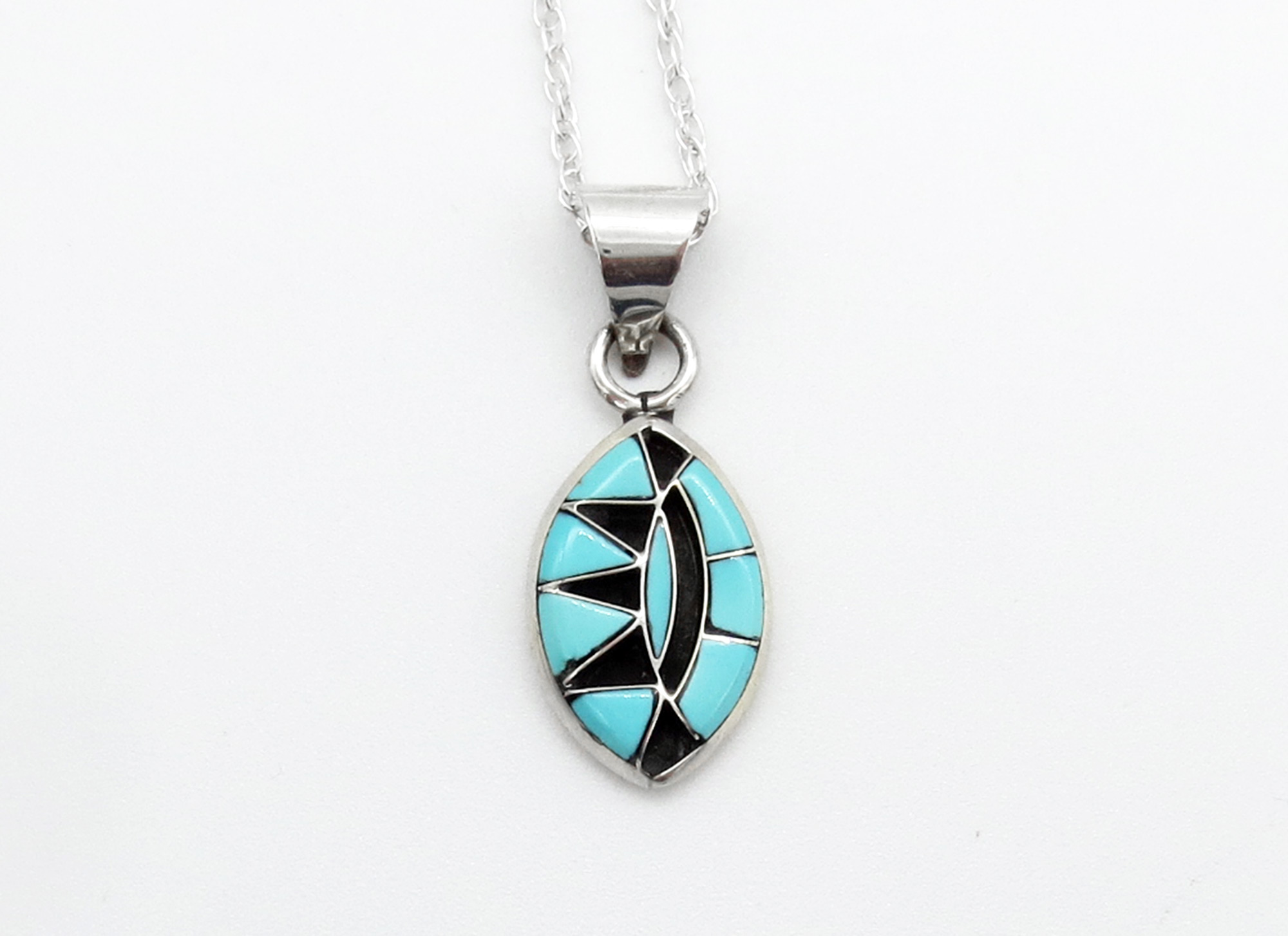 Small Turquoise Jet Inlay & Sterling Silver pendant Zuni Jewelry - 6248sn