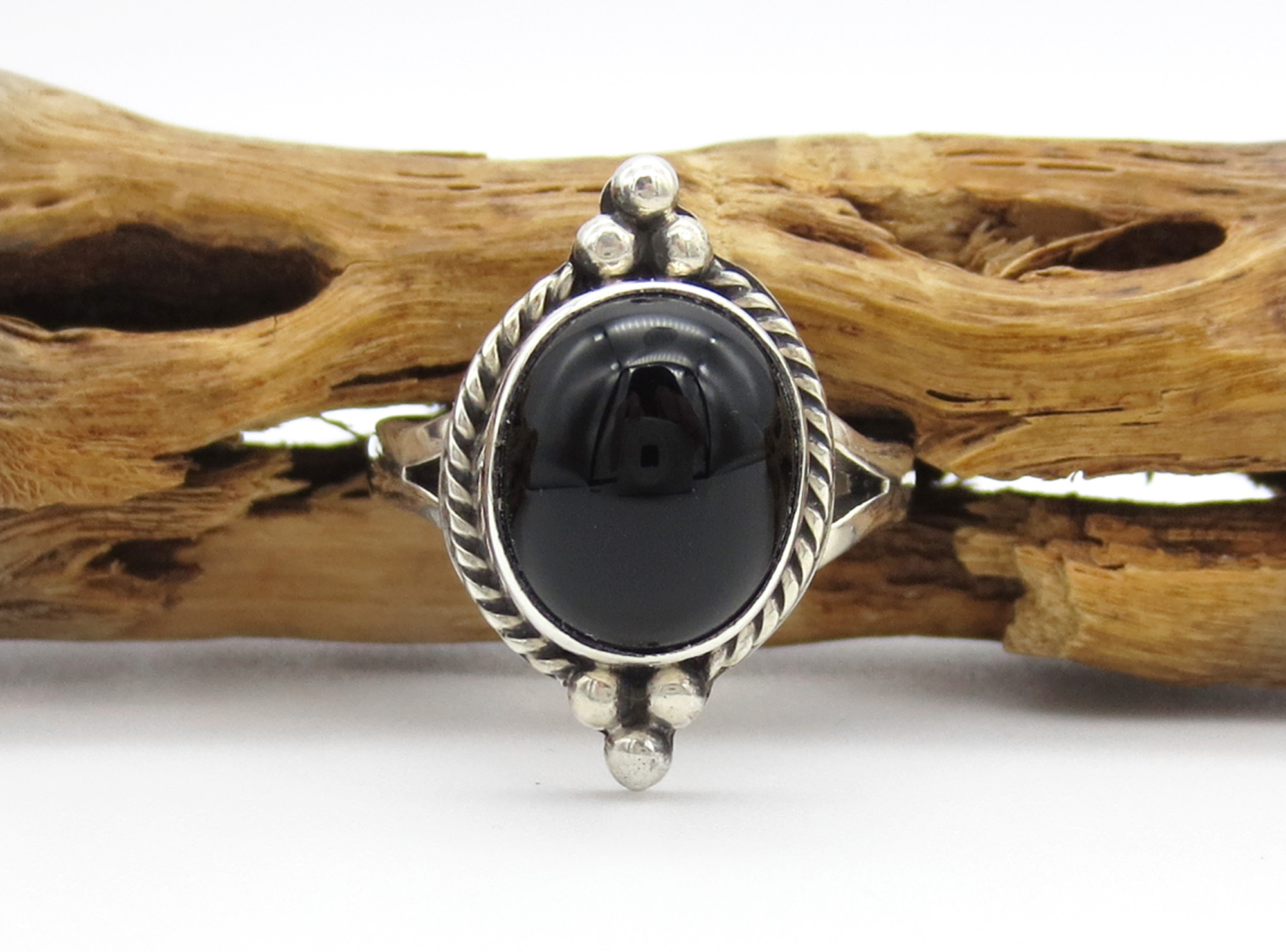 Black Onyx & Sterling Silver Ring Ss 7 Native American Jewelry - 6263sn