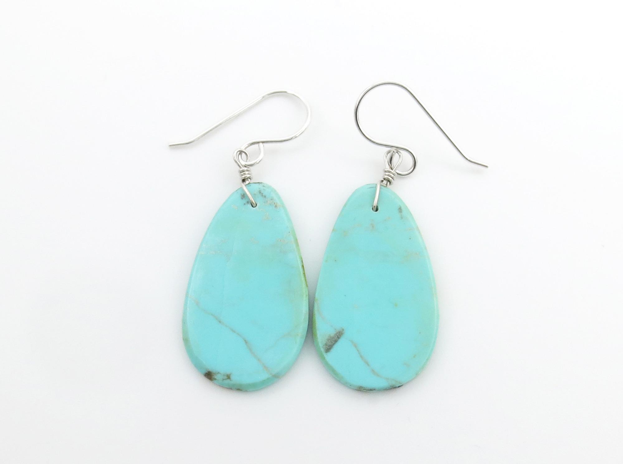 Santo Domingo Jewelry Turquoise Slab Earrings Chavez - 6258pl