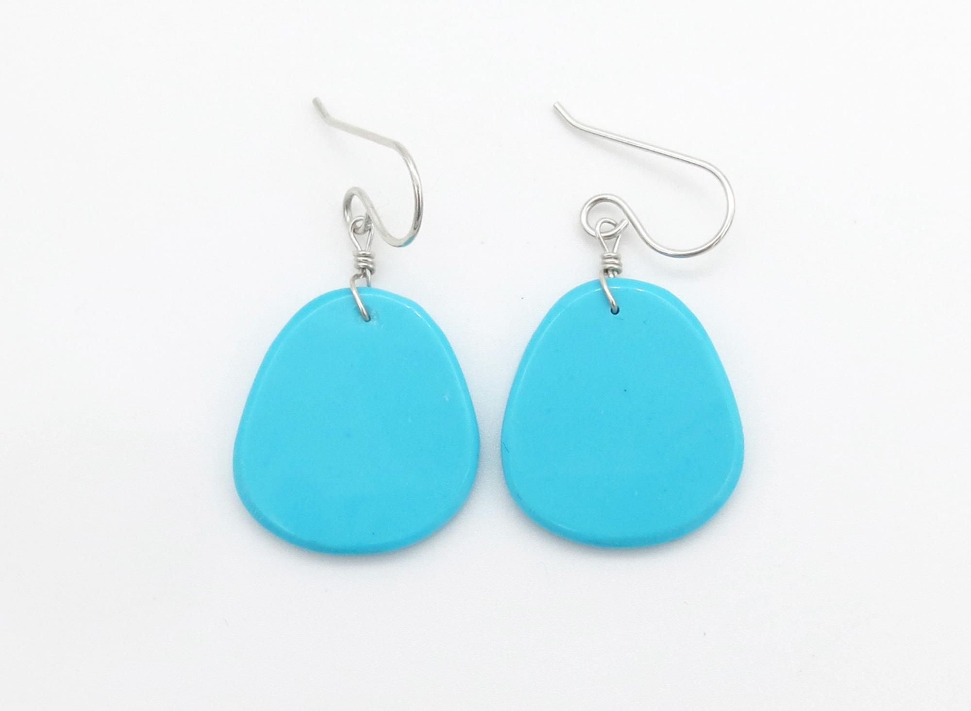 Turquoise Slab Earrings Santo Domingo - 6259pl