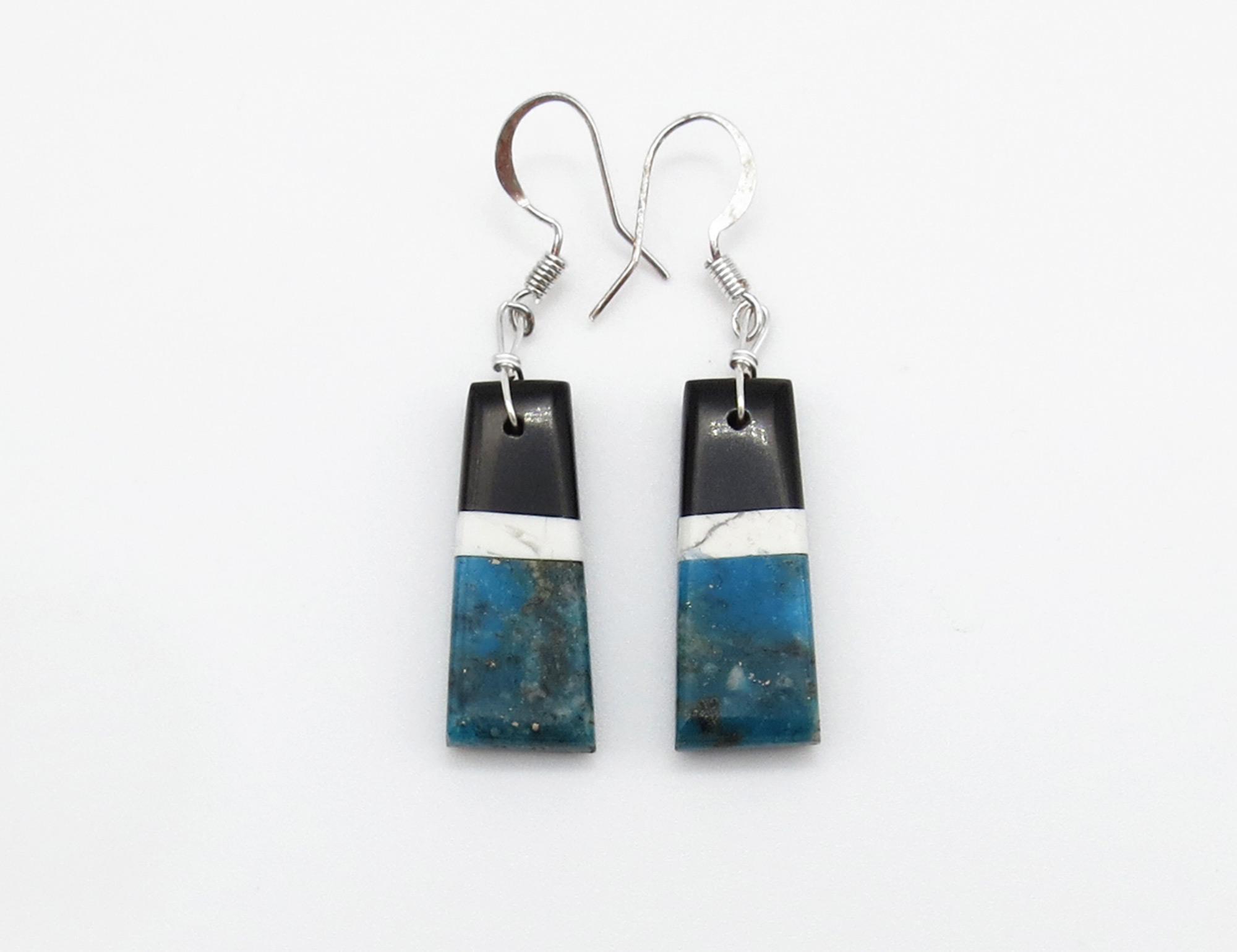 Turquoise Jet Earrings Santo Domingo Jewelry - 3957rio