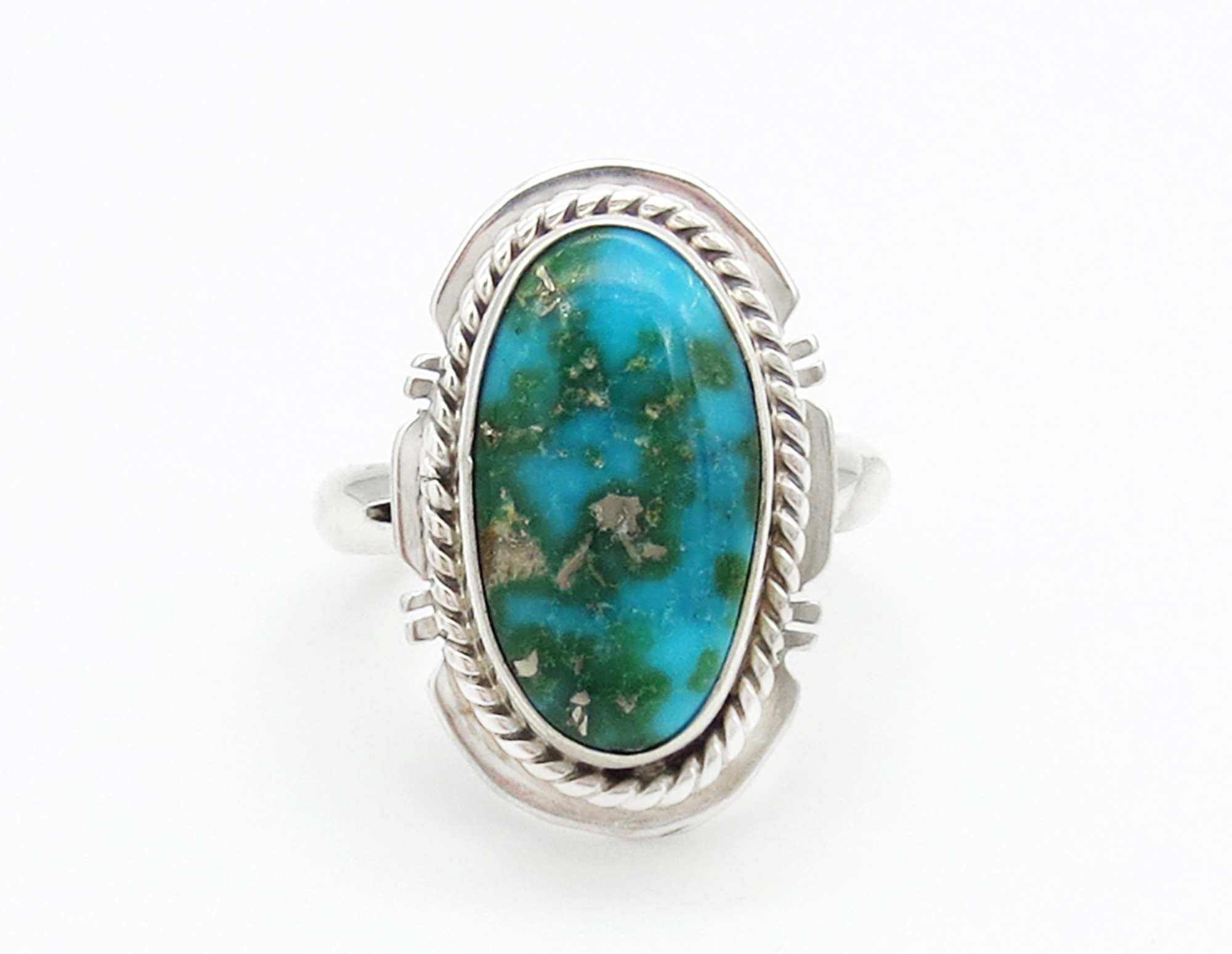 Sonoran Turquoise & Sterling Silver Ring Sz 7 Navajo Jewelry - 6251sn