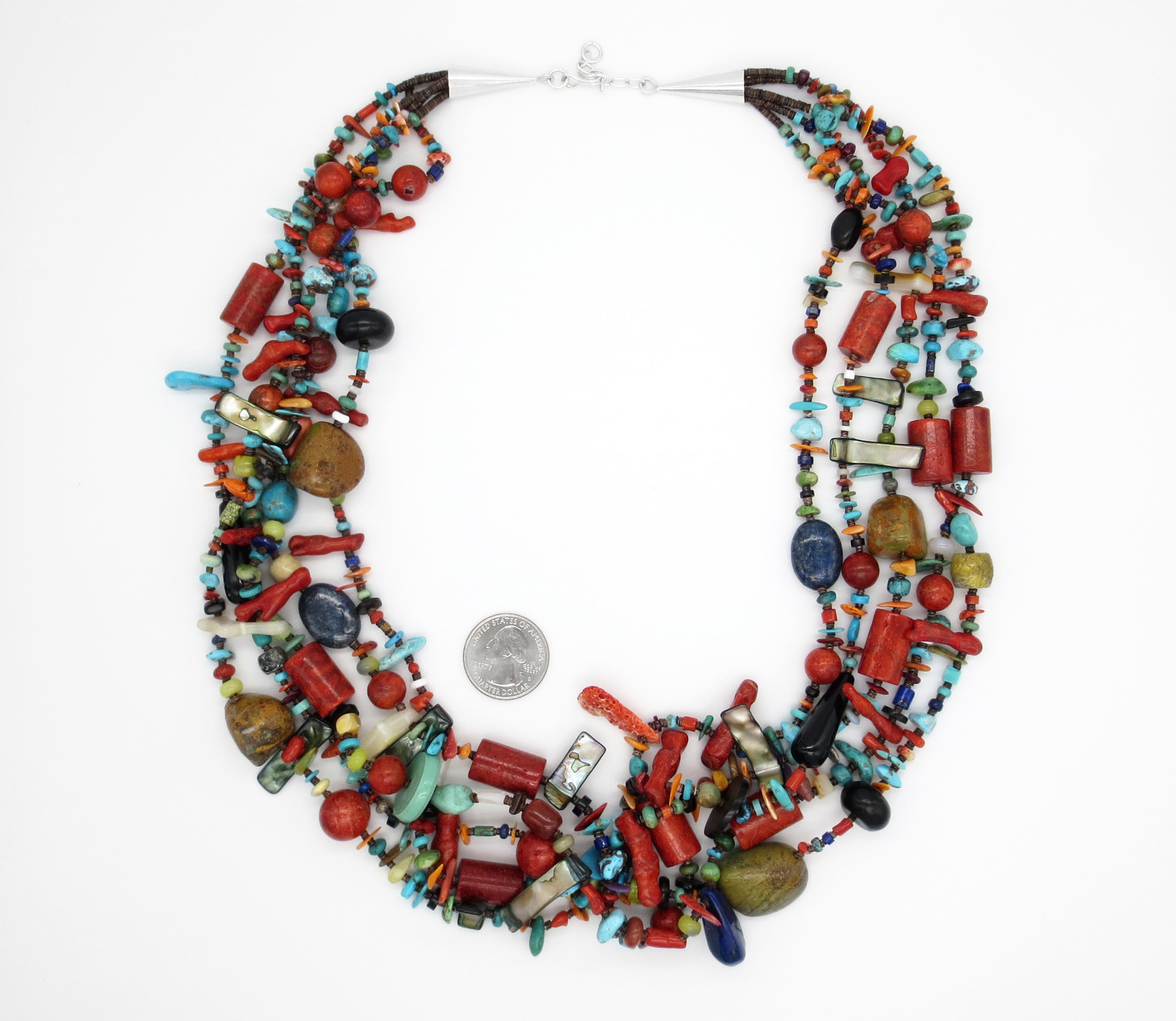 Image 2 of     Five Strand Turquoise Shell Coral Treasure Necklace 27