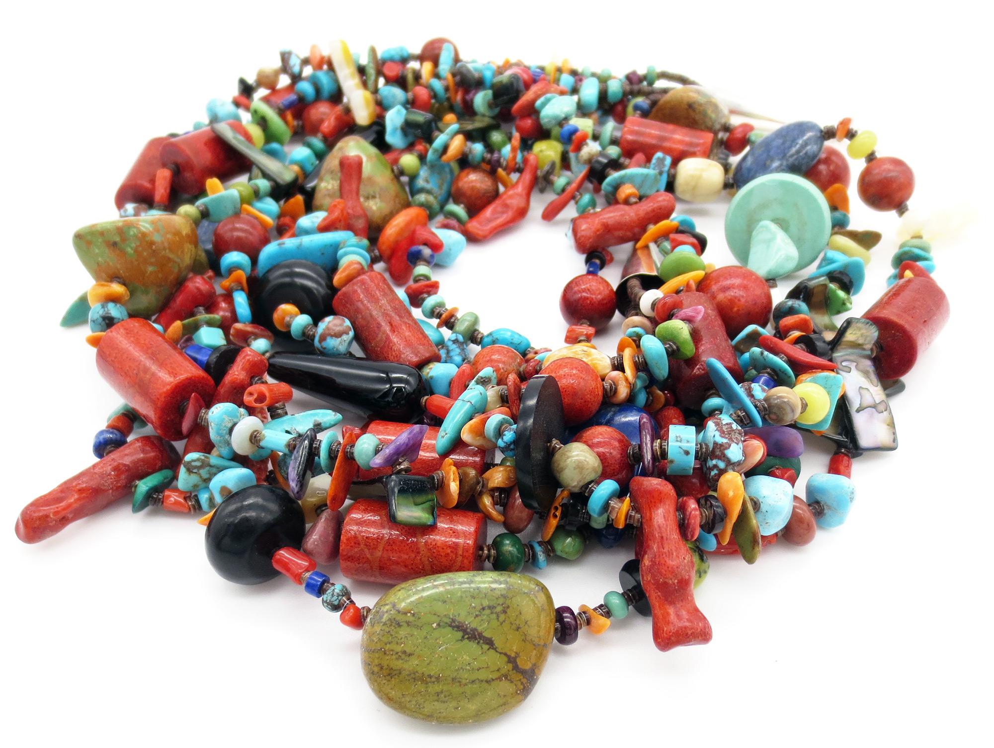 Five Strand Turquoise Shell Coral Treasure Necklace 27 Kewa - 6265rio