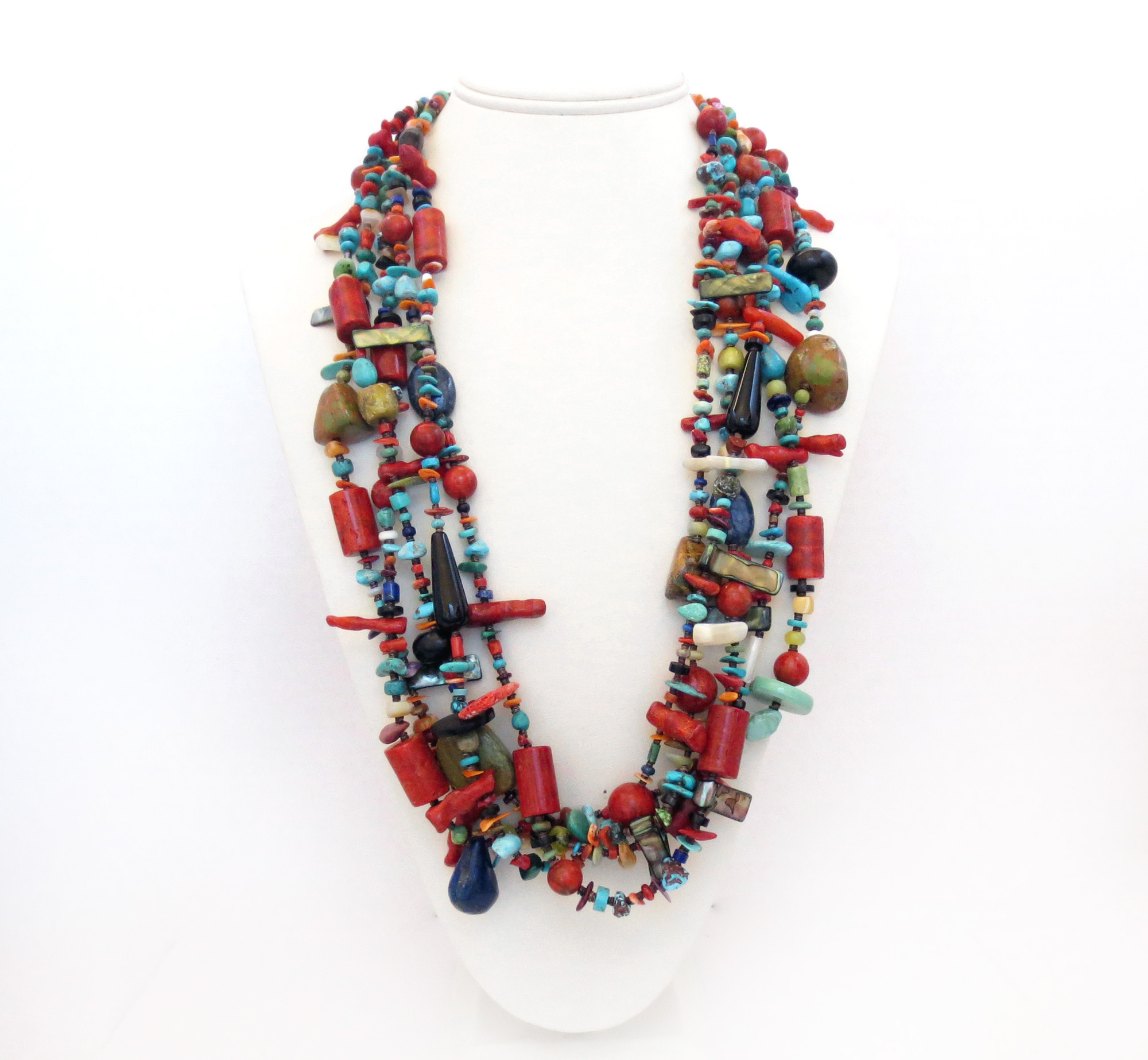 Image 1 of     Five Strand Turquoise Shell Coral Treasure Necklace 27