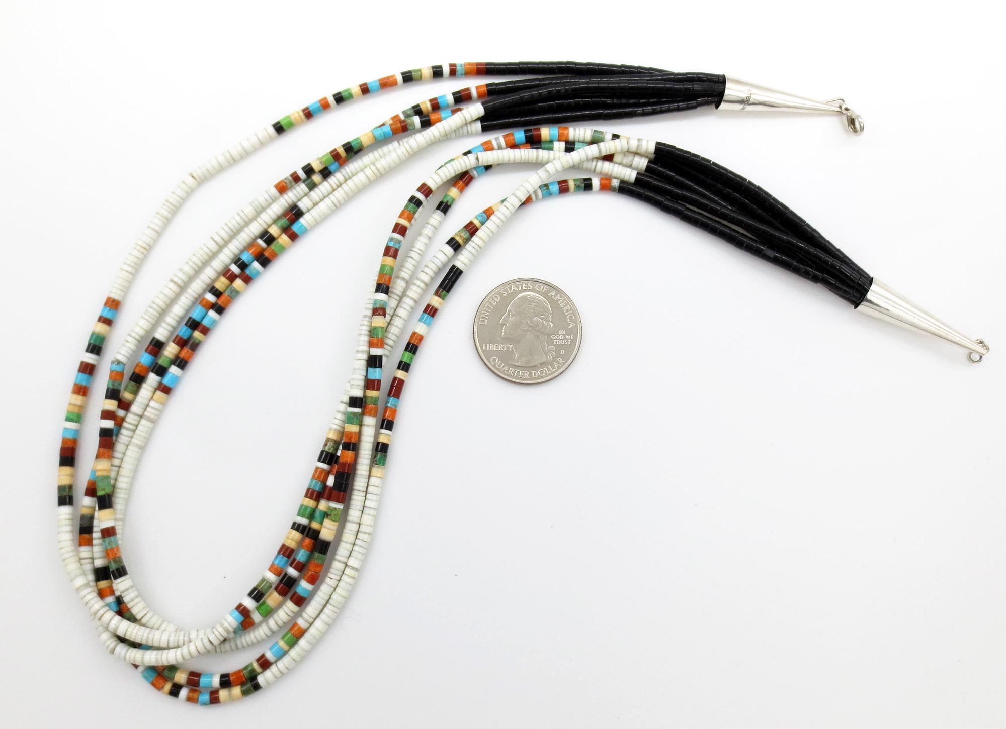 Image 3 of Santo Domingo 5 Strand Heishi Necklace Native American Jewelry - 3846rio