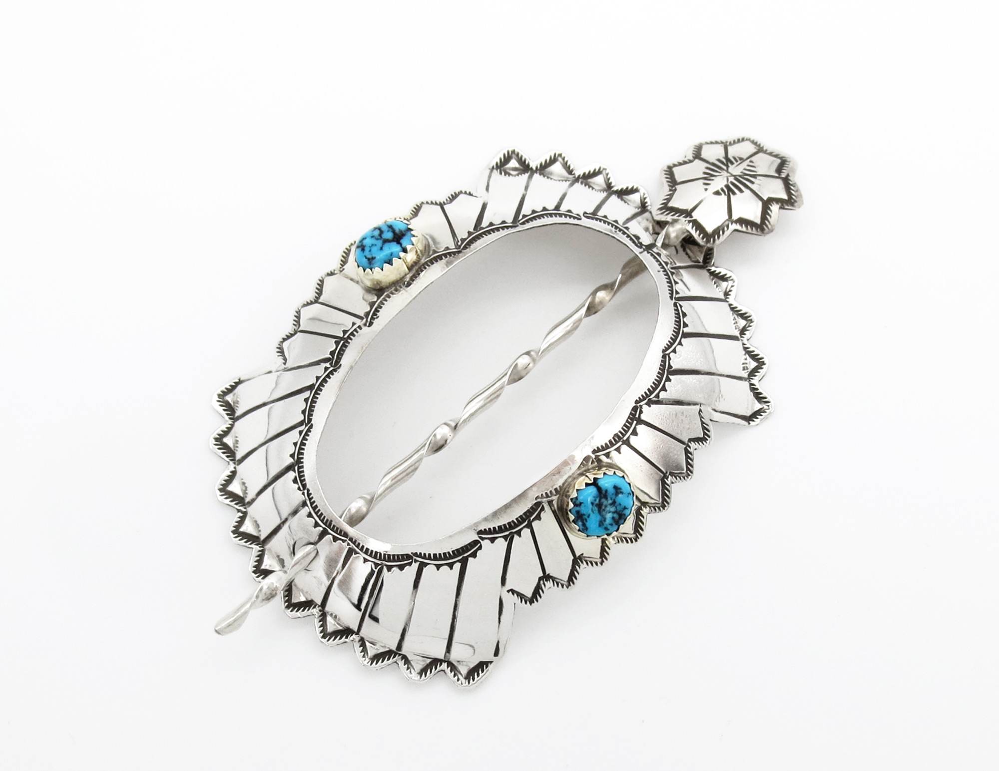 Sterling Silver & Turquoise Stick Barrette Native American - 6261rio