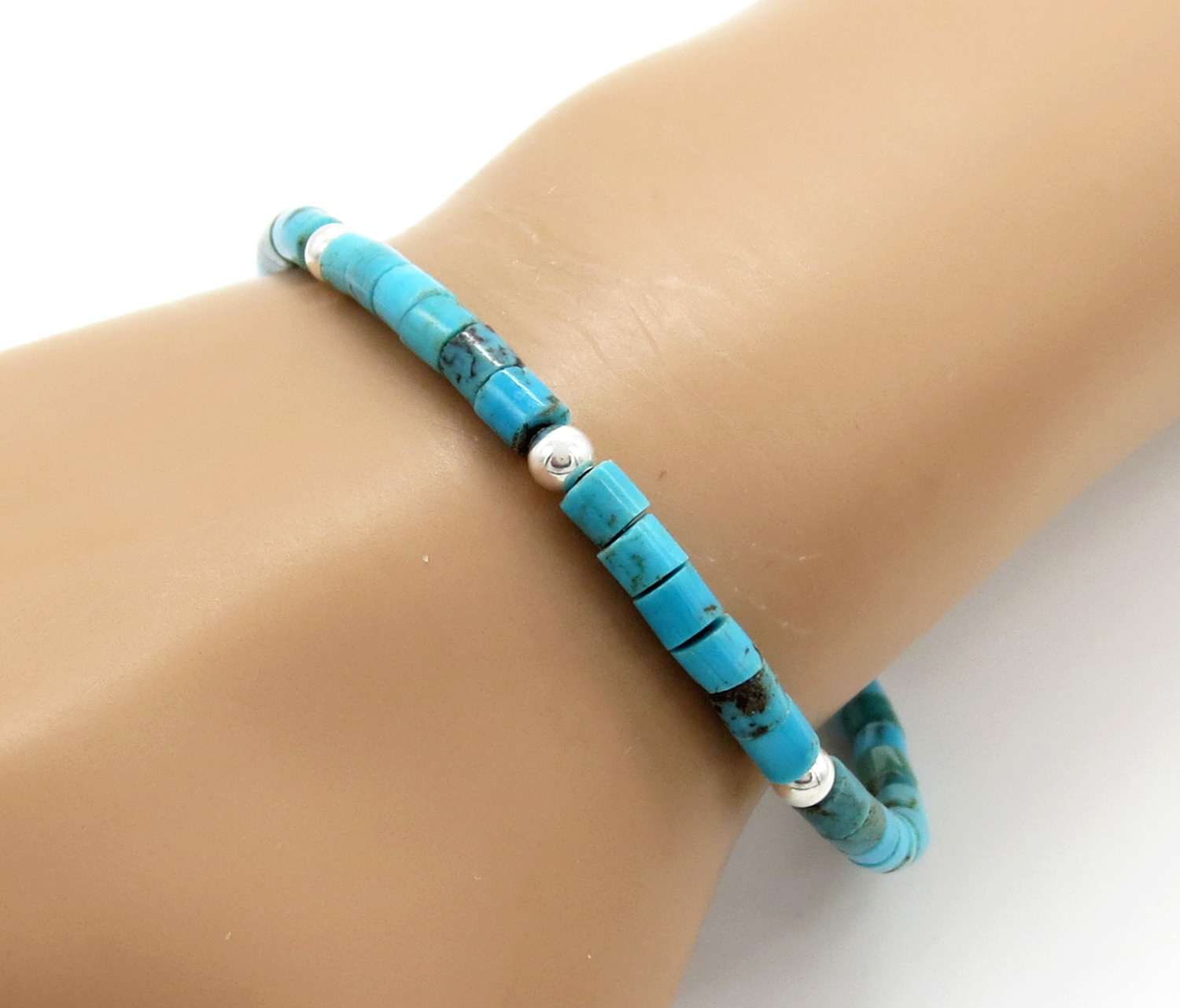 Turquoise Heishi & Sterling Silver Bead Bracelet - 3856rio