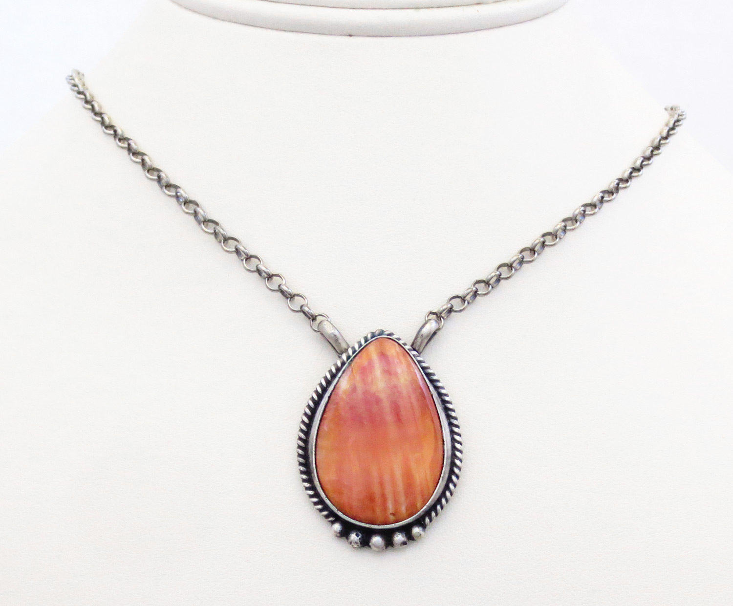 Spiny Oyster & Sterling Silver Pendant Necklace Navajo - 3862dt