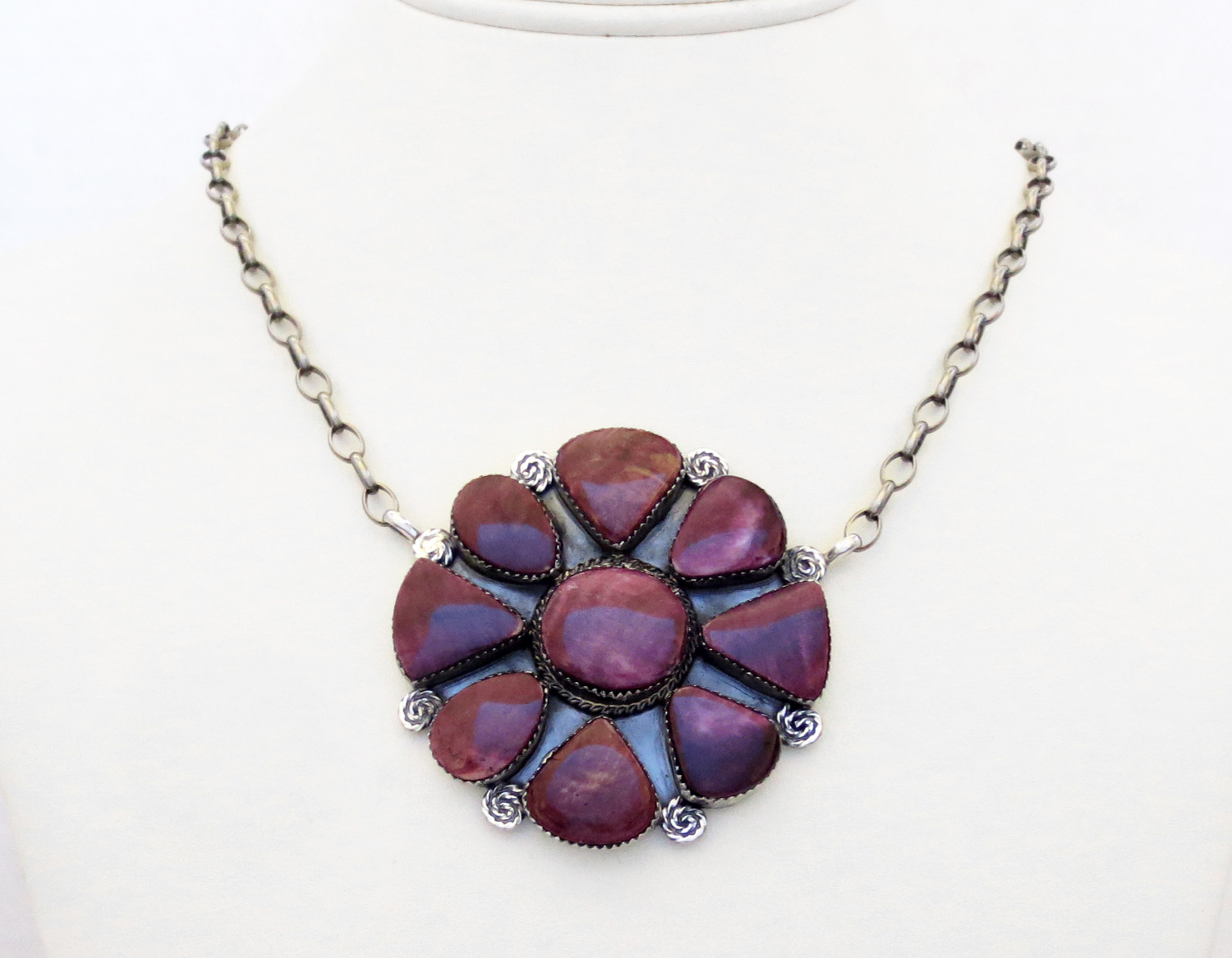 Big Purple Spiny Oyster & Sterling Silver Pendant Necklace - 3861dt